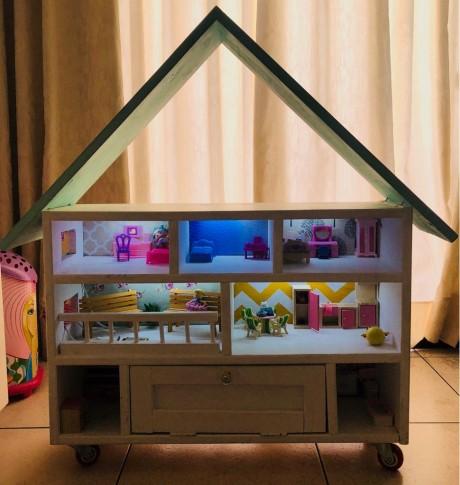 תאורת לד לעיצוב בית בובות צבע אור לד לבן קר הפעלה סוללה