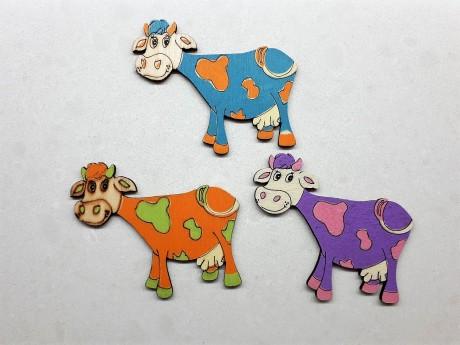 3 מגנטים גדולים פרות צבעוניות למקרר וללוח מתכת
