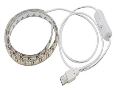 פס לד אורך מטר צבע לבן קר הפעלה USB 5V עם מפסק